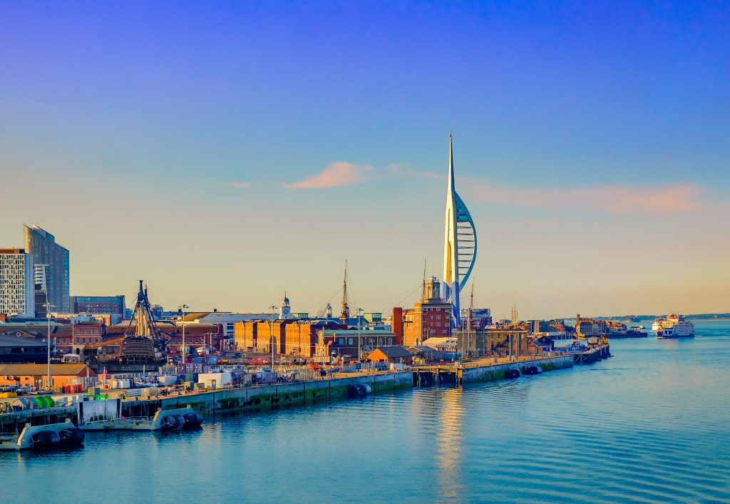 View of Spinnaker tower and harbour in Portsmouth