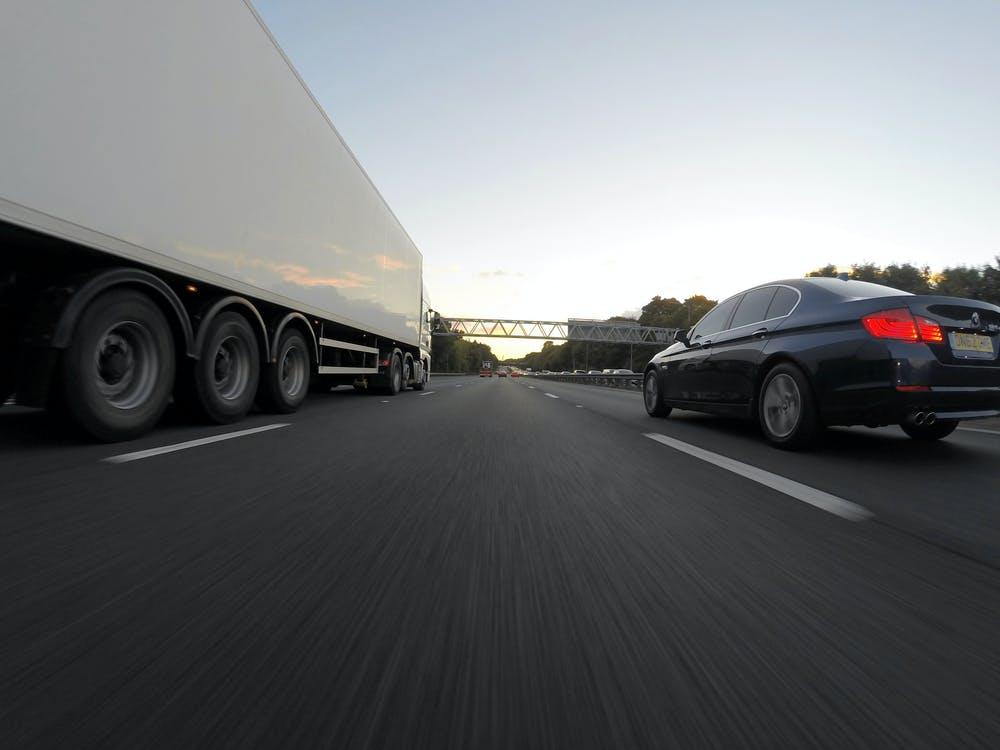 Heavy goods vehicle on road